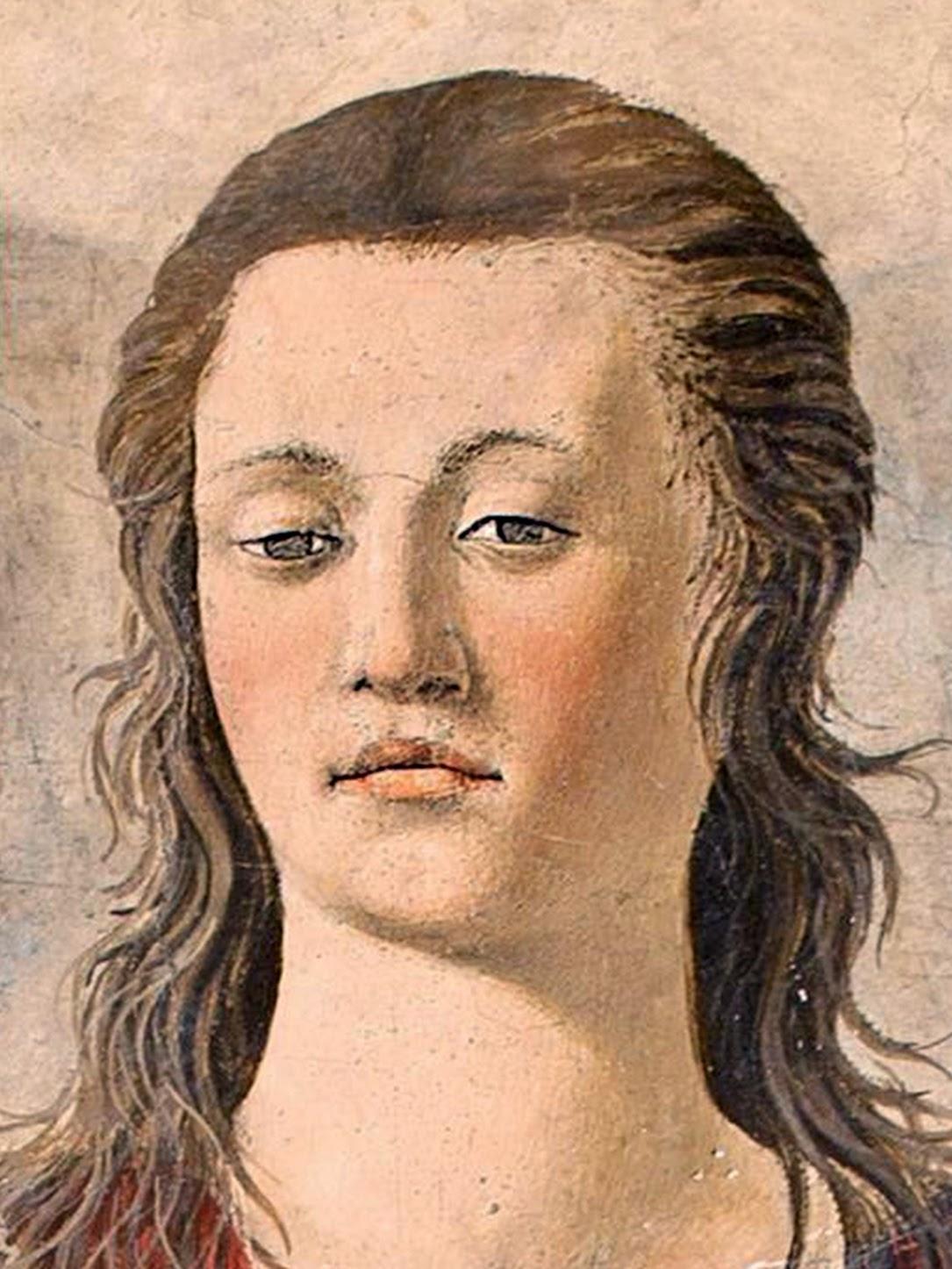 Piero della Francesca, Maria Maddalena (particolare face Maddalena), affresco, 190 cm × 105 cm, Cattedrale di San Donato, Arezzo