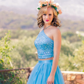 Bubbly Blue by Gerrie van der Walt - People Fashion ( fashion, blue, female, dress, beauty, dressgown )