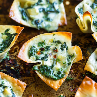 Baked Spinach Artichoke Won-ton Cups.