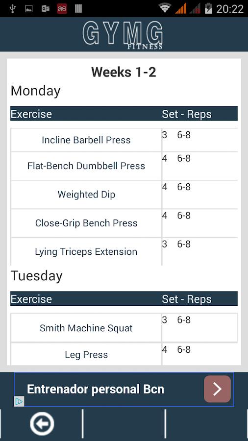 Gymg Fitness Workout Screenshot