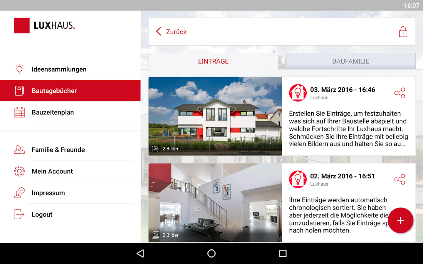 LUXHAUS Hausbau App – Screenshot