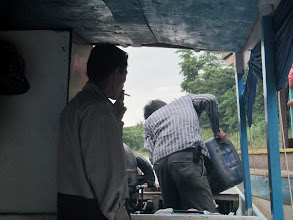 Photo: Year 2 Day 41 -  Filling the Diesel Tank and Smoking a Fag