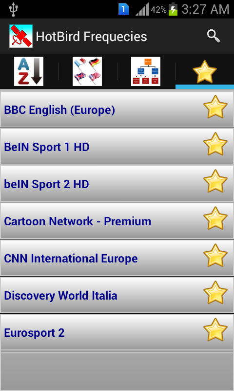 Скриншот HotBird Channels Frequencies