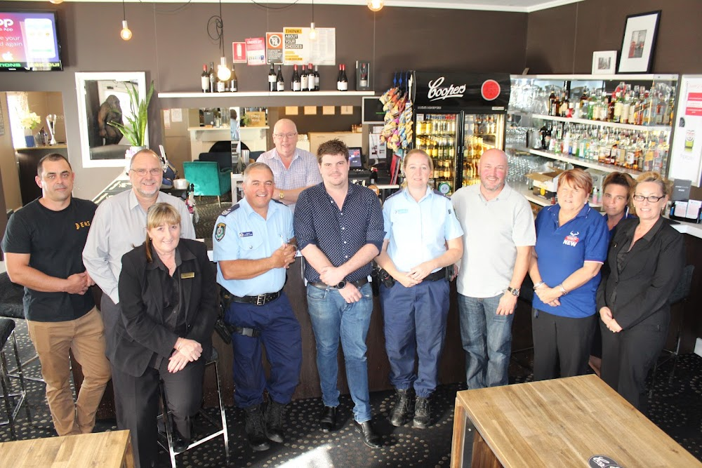 Back, Crossroads owner Dave Hammel, front, Wade Foster (Narrabri Golf Club), Paul Gordon (Narrabri RSL Club), Kaylene Bourke (Narrabri Bowling Club, and the new secretary of the accord), Sergeant Graeme Elms (licensing officer based in Tamworth), Joe Hungerford (Crossroads Hotel, and the new chairman of the accord), Senior Constable Ajarna Imrie (who will be the licensing officer in Narrabri Shire from next month), Michael Chappell (Tattersalls Hotel, and the new treasurer of the accord), Cynthia Humphries and Renee Doring (both Wee Waa Bowling Club) and Wendy Mortimer (Narrabri Bowling Club).