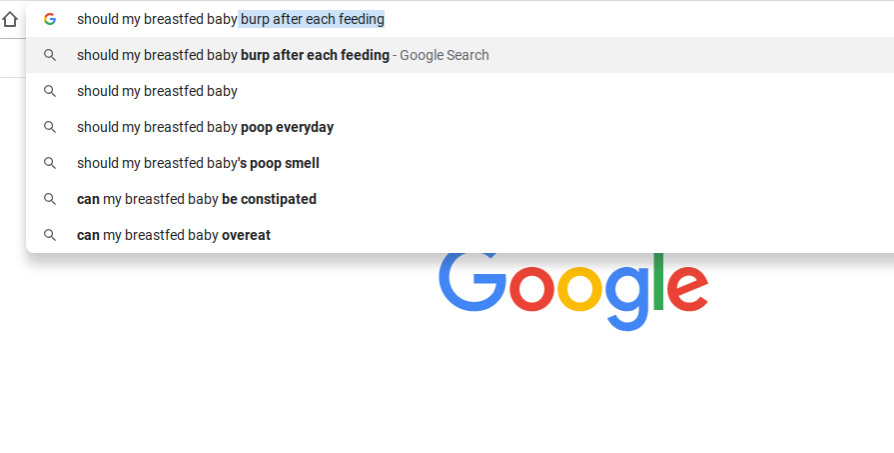 Screenshot of Google with breastfeeding question autocomplete