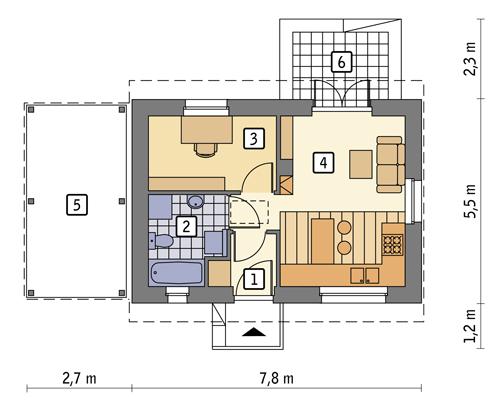 Ze świetlikami - wariant I (etap I) (rekreacyjny) - DL400a - Rzut parteru