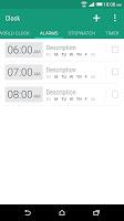 screenshot of HTC Clock