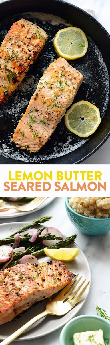Lemon Butter Seared Salmon Recipe | Yummly