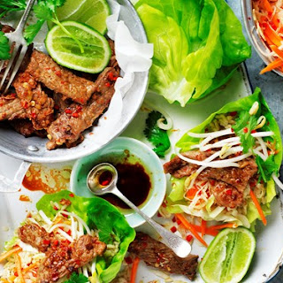 Korean Beef Lettuce Cups With Pickled Vegetables