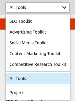 SEMrush organizes the tools into useful functions