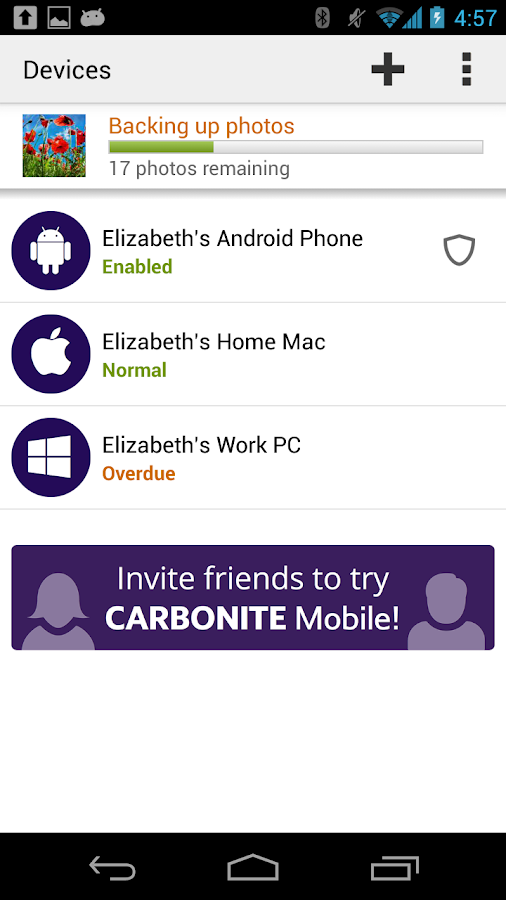 Carbonite Mobile - screenshot