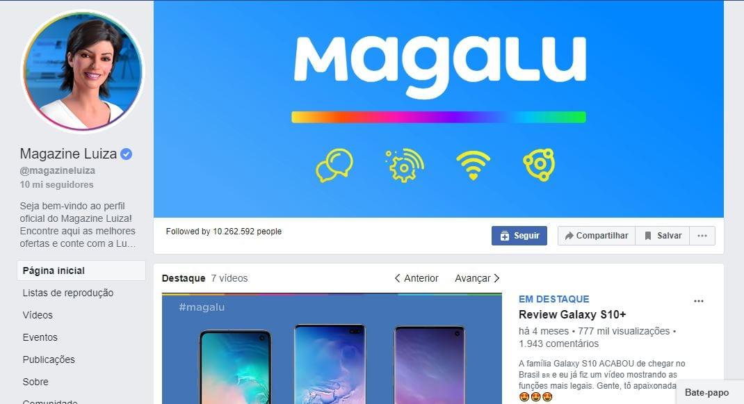 Como criar uma brand persona: imagem do perfil da rede Magazine Luiza no Facebook.