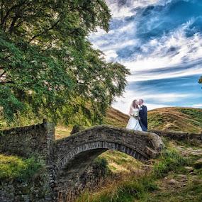by Victor Harris - Wedding Bride & Groom ( england, hey green country house hotel, west yorkshire, locations, wedding, huddersfield, marsden )