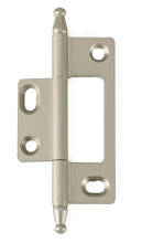 Photo: BH3A-NM-SS for non-mortised inset cabinet doors in Silver Satin (brushed nickel) finish