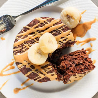 Healthy Single-Serving Chocolate Peanut Butter Banana Microwave Cake.