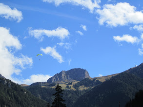 Photo: A paraglider landing at the main Col Rodella LZ