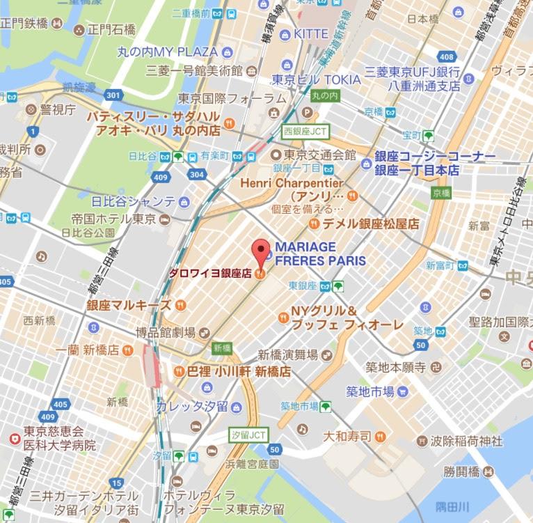 地図:ダロワイヨ 銀座本店