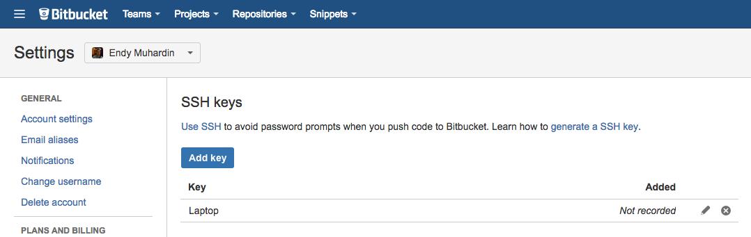 Daftar SSH Key