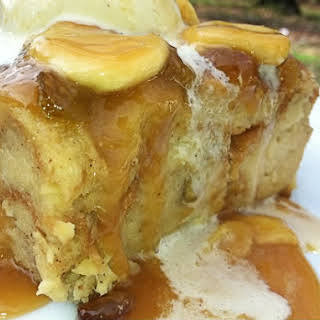 Pineapple Banana Bread Pudding with Banana Caramel Sauce.