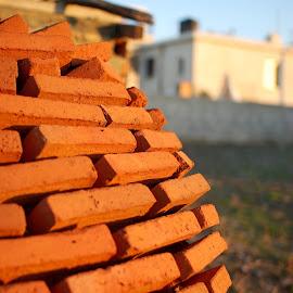 Brick oven by Pixie Simona - Abstract Patterns ( orange, oven, brick, bricks, golden hour,  )