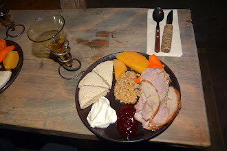 Photo: The evening meal along with some home made mead