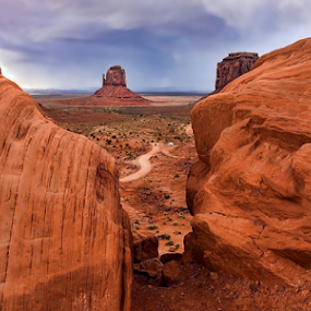 Rocky View by Phyllis Plotkin - Landscapes Caves & Formations ( monument valley, utah, path, landscape, rocks )