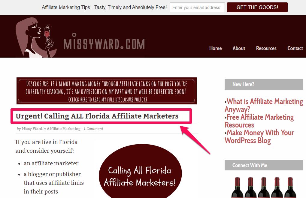 "A screenshot of a headline titled ""Urgent! Calling ALL Florida affiliate marketers."""