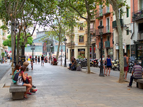 Photo: Passeig del Born - from Santa Maria del Mar's front steps. The market at the other end has recently been turned into a cultural center because as they were renovating they found ruins from the Barcelona of the 1700s - before the city was all but destroyed in the siege of 1714.