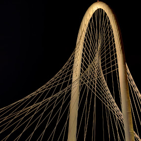 The Arch by Michael McMurray - Buildings & Architecture Bridges & Suspended Structures ( night exposure, pattern, suspension bridge, arch, dallas, cable, texas, bridge, cable tower, suspended, margaret hunt hill bridge )