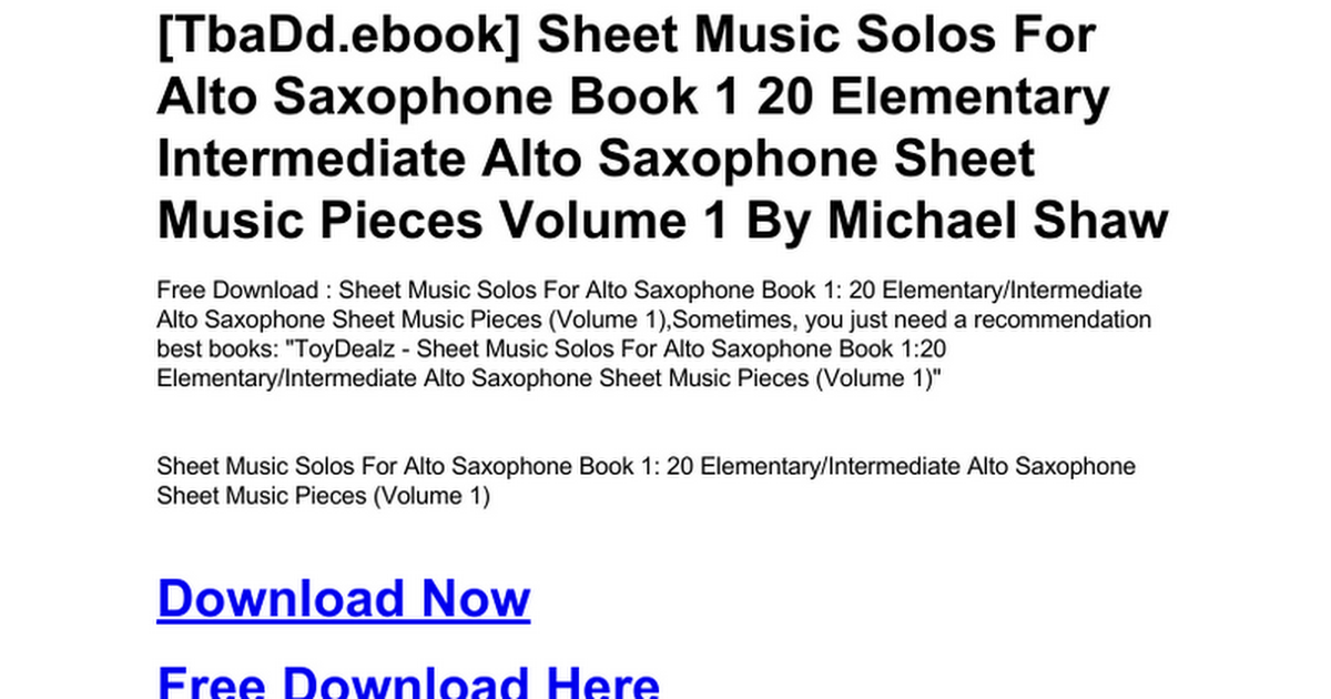 Sheet Music Solos For Alto Saxophone Book 1 20 Elementary