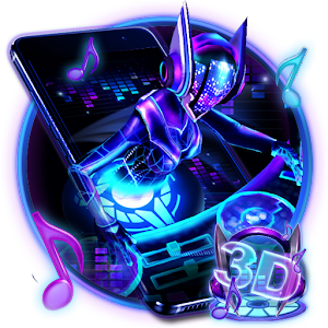 3D Neon Hologram DJ Music Theme