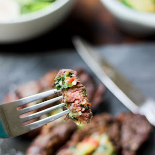 Grilled Chuck Eye Steaks with Chili Herb Butter Recipe