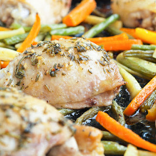 One Pan Chicken and Vegetables with Fresh Herbs.