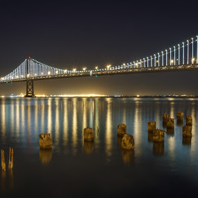 Bridging the Darkness by Paul Judy - Buildings & Architecture Bridges & Suspended Structures ( lights, reflection, california, bay bridge, san francisco, bridge )