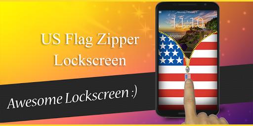 USA Flag Zipper Lockscreen