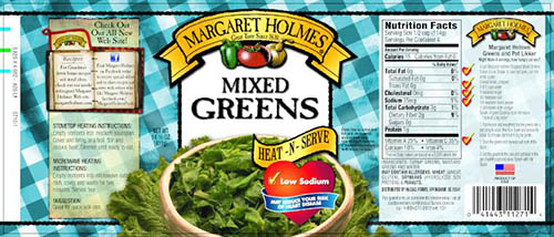 Label, Margaret Holmes Mixed Greens