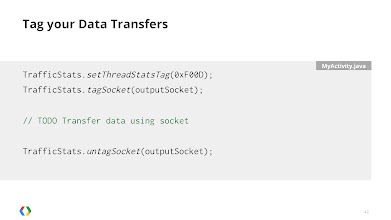 Photo: Use the TrafficStats class to tag each socket for identification within the Network Statistics tab of DDMS.