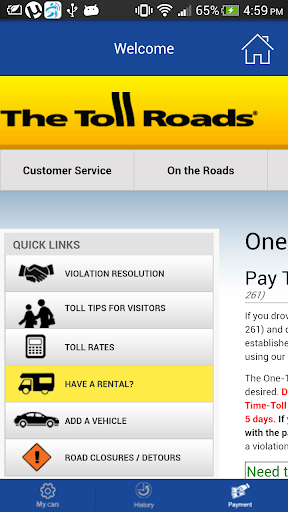 Pay one time toll