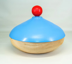 "Photo: Clif Poodry 10"" x 9"" ""Beads of Courage"" lidded bowl [poplar, paint]"