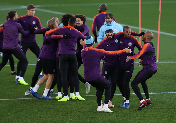 Manchester City's Ilkay Gundogan, Fernandinho and Fabian Delph (front) during training at the City Football Academy in Manchester, Britain, November 6 2018. Picture: REUTERS/LEE SMITH