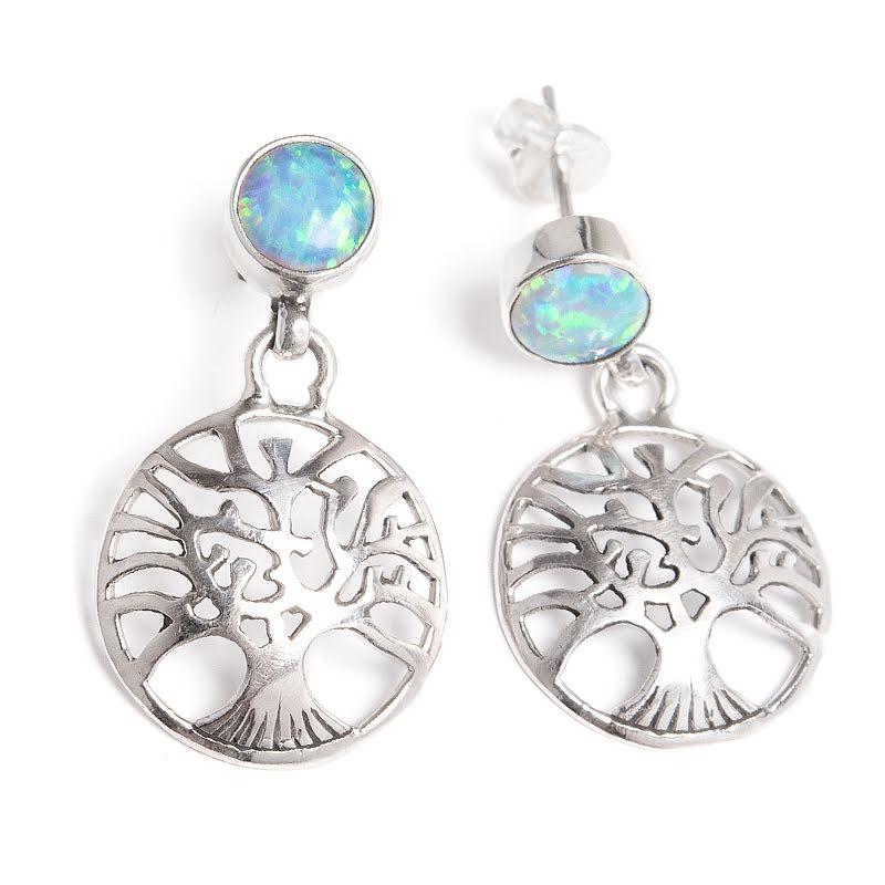 Opal, syntetisk i silverörhänge med Livets Träd