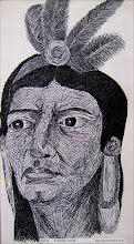 Photo: Native. 9 ½ in x 18 in. India ink on thick acid free paper. Created back when I was 17 years old. ©Marisol McKee
