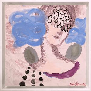 tisseur de mythe homme sirene portrait imaginaire child-sophielormeau-lormeau-artiste-peinture-french-artist-art-tableau-toile-painting-peinture-canvas-grey