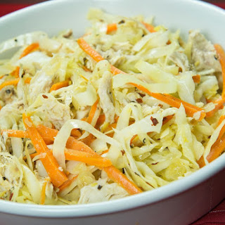 Sesame Ginger Cabbage With Carrots and Chicken.