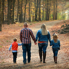 Autumn Stroll  by Karen Carter Goforth - People Family ( trail, fall, nature, walking, hiking, togetherness, family, people,  )