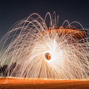 Steel wool at Al Qudra by Salman Ahmed - Abstract Fire & Fireworks ( steel wool, long exposure, fire )