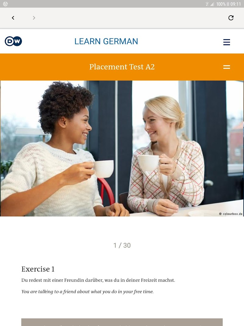 Скриншот DW Learn German - A1, A2, B1 and placement test
