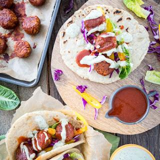 Buffalo Falafel with Vegan Tzatziki Ranch Sauce