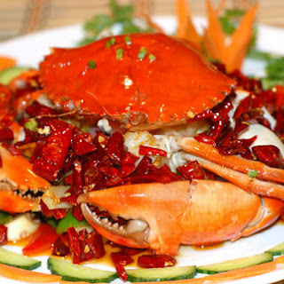 hong jiau xiang la xie (Chinese-style hot and fragrant crab )