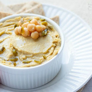 Vegan Roasted Jalapeno Cheddar Hummus.